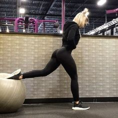 Exercise ball leg and luuute workout! I like doing workouts you only need one piece of equipment! Get a friend and y'all can do this…
