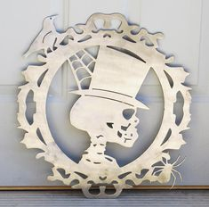Gothic Steampunk Plasma Cut Metal Art Skeleton Halloween Decor