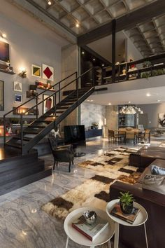 Loft furniture and furnishings - a more and more gaining power fashion - loft leather sofa interior staircase carpet candlestick - Loft Design, Design Case, House Design, Design Room, Shelf Design, Wall Design, Contemporary Interior Design, Decor Interior Design, Interior Ideas
