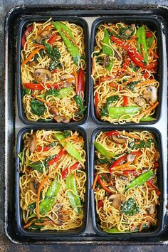 Lo Mein Meal Prep - Save time, money and calories when you prep for the entire w. - FOOD M. Lo Mein Meal Prep - Save time, money and calories when you prep for the entire w. Vegetarian Lo Mein, Vegetarian Meal Prep, Healthy Meal Prep, Vegetarian Recipes, Healthy Recipes, Weekly Meal Prep, Healthy Food, Weekly Food Prep Ideas, Meal Prep For Vegetarians