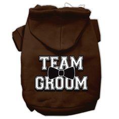 Team Groom Screen Print Pet Hoodies Brown Size XL (16)
