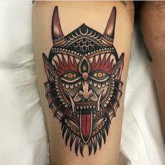 Sunset Tattoos, Head Tattoos, Body Art Tattoos, Traditional Tattoo Sketches, Traditional Tattoo Design, Satanic Tattoos, Occult Tattoo, Devil Tattoo, Old School Tattoo Designs