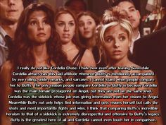 Cordy should never be compared to Buffy.