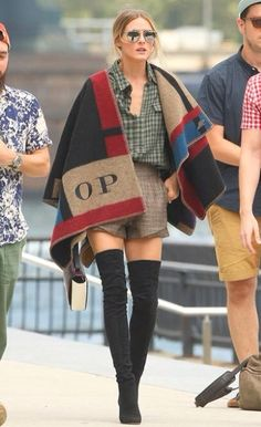 Olivia Palmero monogrammed poncho Burberry Prorsum 2014 Fall