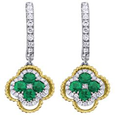 Emerald and Diamond Huggie Earrings with 18 Karat White and Yellow Gold from Spark Creations