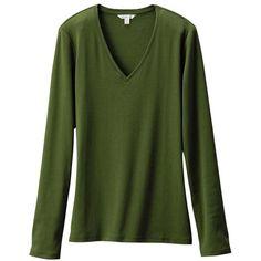 Uniqlo Women Premium Cotton V Neck Long Sleeve T-Shirt ($9.90) ❤ liked on Polyvore