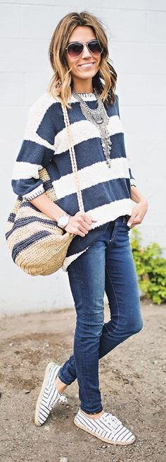 Stripes On Stripes On Stripes Outfit Idea by Hello Fashion
