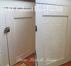 Paint wallpaper silver & distress DIY: How to Give Cabinet Doors a Facelift with Embossed Wallpaper - this is an easy and inexpensive way to spruce up cabinets, drawer fronts, furniture, etc. - via Petite Michelle Louise Wallpaper Bathroom Cabinets, Wallpaper Furniture, Ikea Furniture, Paint Furniture, Diy Cabinet Doors, Cabinet Fronts, Cupboard Doors, Drawer Fronts, Embossed Wallpaper