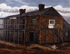 Fort at Nacogdoches depicts the site of the Fredonia Revolt, one of the first clashes between Anglo-American colonists and Mexican authorities.  This incident planted the seeds of concern in the minds of Mexican officials that America was scheming to acquire Texas. This painting is visible in historical photographs of the library as early as ca. 1908–1909.  Oil on canvas, artist unknown.
