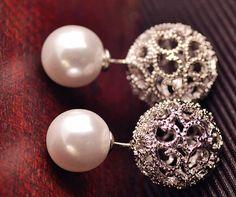Hollow Pearl Earrings by anartstore on Etsy