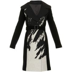Diane Von Furstenberg Incognito wool-blend coat ($1,498) ❤ liked on Polyvore featuring outerwear, coats, black white, embroidered coat, black and white coat, print coat, double-breasted coat and diane von furstenberg