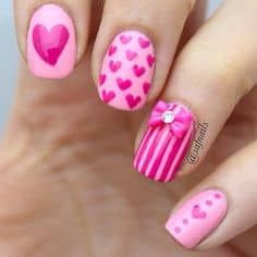 Pink French Tips with white free-hand hearts and decal words, Crystal accents, Valentine Nail Art Related Posts:french nail art designs of day nail art 2017 cuteadorable valentine's day nail art valentine nail designs 2016 Related Fabulous Nails, Gorgeous Nails, Love Nails, Pink Nails, My Nails, Girls Nails, Amazing Nails, Pretty Nails, Pink Nail Designs