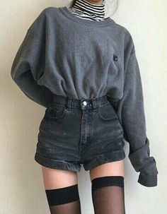 Rolled Cuffed Denim Shorts - #denim #shorts #grunge