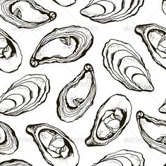 Oysters Pattern  #GraphicRiver         Oysters seamless pattern…