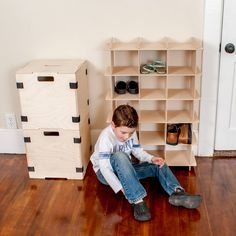 Modern Wood Shoe Storage Cubby