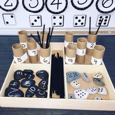 I would use this tray in an individual math center or when working with a student one on one to develop number sense skills. Maths Eyfs, Literacy And Numeracy, Reggio Classroom, Math Centers, Numbers Kindergarten, Math Numbers, Preschool Classroom, Kindergarten Activities, Reggio Emilia Preschool