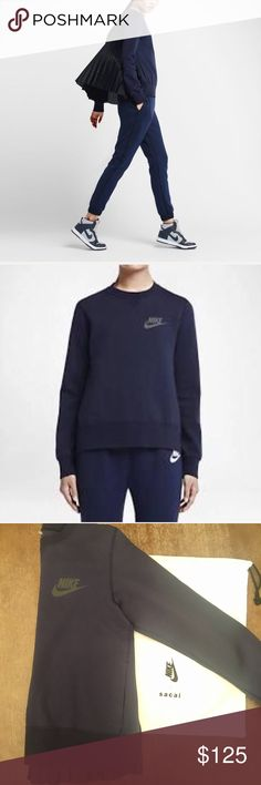 Nike Sacai Pleated Sweatshirt Nike Nikelab x Sacai Navy Sweatshirt with Black Pleated Back. Remixes the classic sport crew design with voluminous accordion. Fleece fabric that keeps you warm without the bulk. Mesh-lined side pockets for convenient storage. Hand Wash. Body 70% cotton, 30% polyester.Lower back panel 100% polyester.Lining 100% polyester. Small, but fits with room.   On here to declutter, 🚫 trades. If I want something in your closet badly enough, I'll buy it 😍 Reasonable…