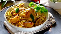 LAYERED CHICKEN BREYANI - A dish that is a true labour of love to prepare but worth every minute – your family will be begging you to make it again and again! Layer Chicken, Apple Chips, Winter Food, Cooking Classes, Yum Yum, Annie, Food To Make, Cape, Chicken Recipes