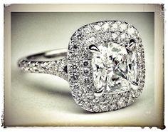 Cushion Diamond Double Halo Pave Engagement Ring