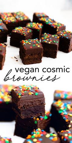 35 minutes Vegan Vegan Cosmic Brownies - a Little Debbie classic veganized. Delicious Vegan Fudge Brownie topped with Chocolate Ganache and Sprinkles. Fudge Brownies, Brownies Caramel, Cosmic Brownies, Easy No Bake Desserts, Delicious Desserts, Best Vegan Desserts, Vegan Recipes, Brownie Toppings, Sprinkles