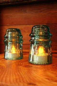 Vintage Industrial Glass Insulator Tea Lights - LED Tea Lights - HMLAwIVR ~