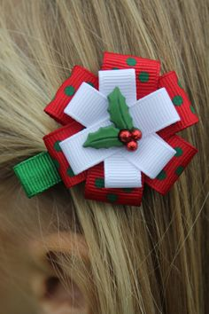 Christmas Holly Hair Bow Christmas Holly by marimaricollection, $4.00