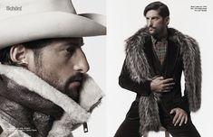 Legendary supermodel Tony Ward poses for Schön magazine. Shoot by: Dimitris Theocharis www.hockleylondon.com #fur #scarf #men's #fashion #style #fashion #week #editorial #Schon #magazine #cover #issue #9
