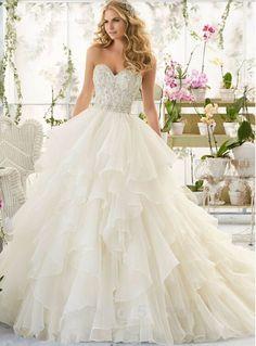 Organza Ruffles Bridal Wedding Dresses Ball Gowns 2016