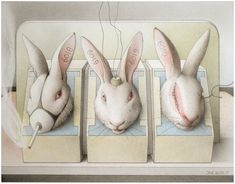 "Jane Lewis ""Earthlings - Rabbits in Stocks"" (graphite and coloured pencil on paper) Jane Lewis, Stop Animal Testing, Coloured Pencils, Animal Rights, Art School, Rabbits, Graphite, Vegan, Artist"