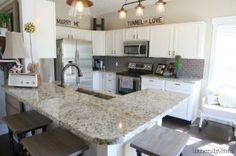 THIS kitchen! Kitchen Reno, Kitchen Remodel, Kitchen Dining, Kitchen Cabinets, Kitchen Ideas, Dining Room, Valspar Paint Colors, Builder Grade Kitchen, White Cabinets