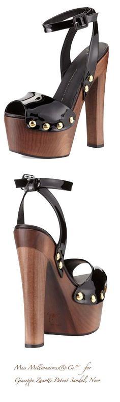 Giuseppe Zanotti Patent Sandal, Nero for 2015