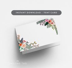 Printable Wedding Place Cards Printable (Tent Card Version) - Blank Escort Cards - Table Setting Card- Letter and A4 Size (Item code: P807)