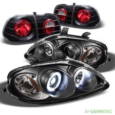 For 99-00 Honda Civic 4 Dr Twin Halo Pro Headlights+Tail Lamp Head Lights