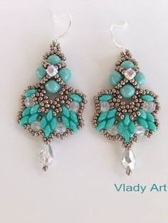 "Vladimirka Kostova  Earrings ""Aglaya"" handmade with superduo, Toho, Swarovski"