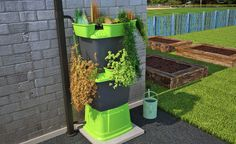 Lush green planter rainwater harvesting system, perfect on modern patios.
