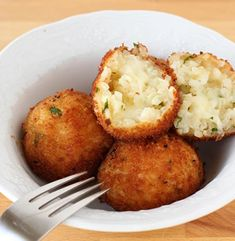 Italian classic recipe- balls of risotto stuffed with cheese or whatever takes your fancy, then crumbled and fried!