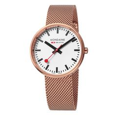 New in! The Mini Giant watch by Swiss brand Mondaine features a lightweight mesh strap and is available in three contemporary finishes.  #rosegold #luxurywatches #Swissdesign