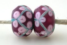 COPPER GREEN Pink flowers matte Pair Handmade Lampwork by taneres, $11.00