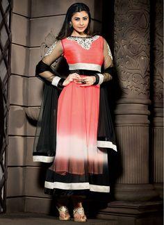 Daisy Shah Black and Pink Georgette Designer Churidar Suit