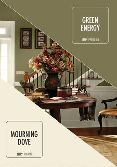 Balance light and dark with this earthy color combination of BEHR paint in Mourning Dove and Green Energy. The traditional tones will look stunning in your entryway–and are sure to make a statement.