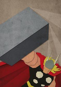 Thor—Minimalist Superhero Prints Inspired By Paper Cutting— Greg Guillemin— Superhero Poster, Superhero Room, Superhero Classroom, Classroom Ideas, Paper Cutting, Vikings, Behance Portfolio, Avengers, The Mighty Thor