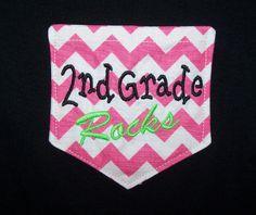 Second Grade Rocks Chevron Pocket Shirt 2nd by trendyembroidery, $25.00