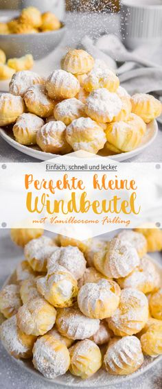 Perfect little cream puffs with vanilla filling - Ina Is (s) t - # Children& birthday, Coffee with aunt Ilse or at Carnival: without puff nothing works - Bite Size Desserts, Desserts For A Crowd, Mini Desserts, Spaghetti Eis Dessert, Choux Pastry, Party Finger Foods, Mini Foods, Evening Meals, Macaron