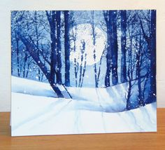 Snowy grove card by Micheline Jourdain - Cards and Paper Crafts at… Watercolor On Wood, Watercolor Pictures, Watercolor Trees, Watercolor Cards, Penny Black Karten, Penny Black Cards, Winter Karten, Paint Cards, Winter Trees