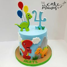 Simple Dinosaur Themed 4th Birthday Cake! Call or email to order your customized cake today! #birthday #birthdaycake #dino #dinotheme #celebrate #balloons #cake #fondant