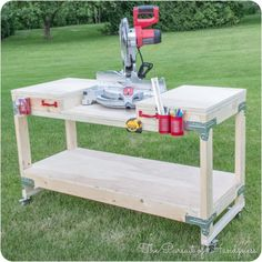 Woodworking Tools Great roundup of 6 space-saving DIY miter saw stands that would be perfect for a small workshop. - Here's a roundup of 6 DIY tutorials that show how to build a space-saving miter saw stand that would be perfect for a small workshop. Miter Saw Stand Plans, Diy Miter Saw Stand, Miter Saw Table, Mitre Saw Stand, Mitre Saw Bench, Woodworking Bench, Woodworking Shop, Woodworking Crafts, Woodworking Basics