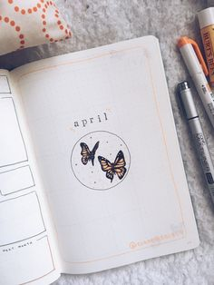 Minimal & aesthetic bullet journal april butterfly cover page for 2020. Check out my site ciaoestrela.co or instagram @ciaoestrelaco for more bujo/art inspo! You can shop my art, too! #supportsmallbusinesses ♥ April Bullet Journal, Bullet Journal Aesthetic, Bullet Journal Writing, Bullet Journal Spread, Bullet Journal Ideas Pages, Bullet Journal Inspiration, Alone In The Dark, Bee Theme, Travel Scrapbook