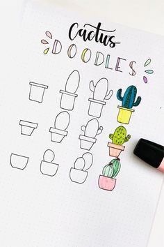 20 Creative step by step cactus and succulent doodle ideas for your bullet journal Bullet Journal Notes, Bullet Journal Ideas Pages, Book Journal, Cute Smiley Face, Cactus Doodle, Doodle Art, Doodle Ideas, Bujo Doodles, Cactus Drawing