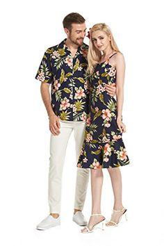 Made Hawaii Couple Matching Luau Elegant Ruffle Dress Shirt Navy Pink Floral Luau Outfits, Hawaii Outfits, Themed Outfits, Outfits For Teens, Girl Outfits, Hawaiian Party Outfit, Hawaiian Wear, Luau Dress, Hawaii Dress