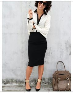 Street Chic - sometimes I miss wearing real clothes to work. Scrubs are comfy but not so glam. - Street Chic Looks Business Fashion, Business Outfits, Office Fashion, Office Outfits, Work Fashion, Work Outfits, Business Wear, Business Casual, Office Attire